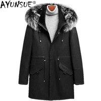 AYUNSUE Genuine Sheepskin Leather Jacket Winter Jacket Men 100%Wool Liner Coat Autumn Fox Fur Collar Long Coat LSY088329 MY1129