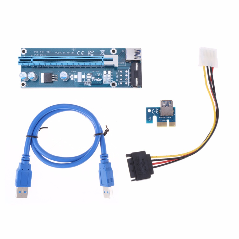 60cm PCIe PCI-E PCI Express Riser Card 1x to 16x USB 3.0 Data Cable SATA to 4Pin IDE Molex Power Supply for BTC Mining miner new aad in card pcie 1 to 4 pci express