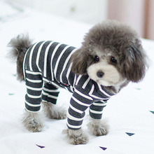 Купить с кэшбэком Dog Clothes for Small Dogs Summer Striped Jumpsuit for Chihuahua French Bulldog Coat Soft Pajamas for Dogs Pet Cat Costume XXL
