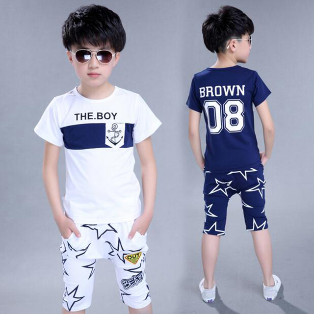 2016 Summer Style Fashion Cotton Print Pattern Star Baby Boy T-Shirt With Half Pants Boys Sport clothes Suits Kids Clothing Set