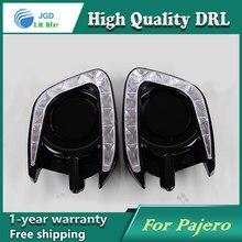 Free shipping !12V 6000k LED DRL Daytime running light case for Mitsubishi Pajero sport fog lamp frame Fog light Car styling