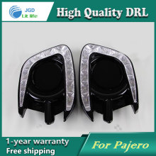 цена на Free shipping !12V 6000k LED DRL Daytime running light case for Mitsubishi Pajero sport fog lamp frame Fog light Car styling