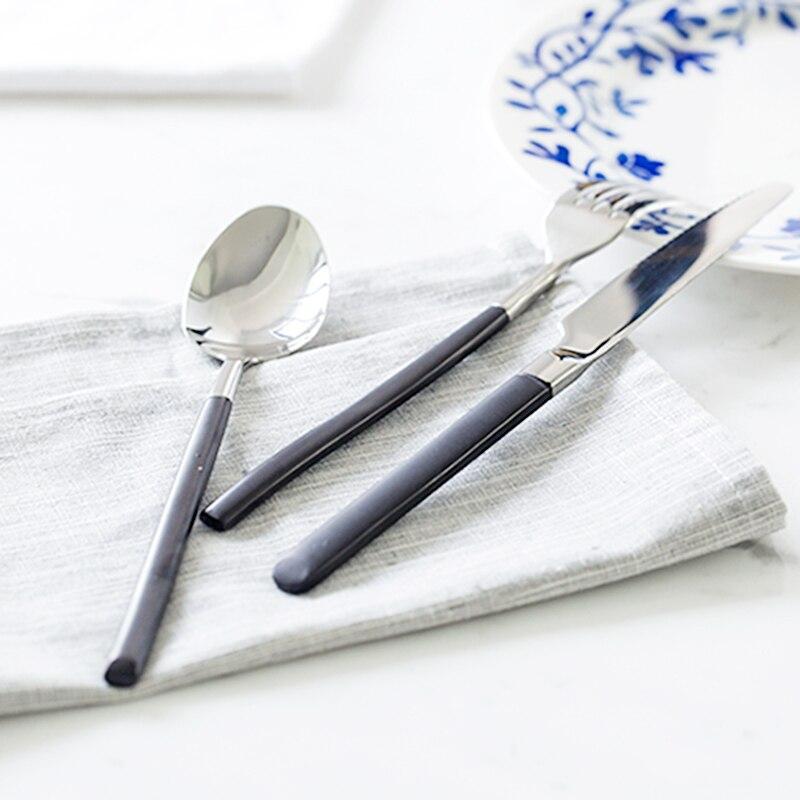304 acier inoxydable vaisselle de haute qualité marque Steak couteaux fruits fourchette Dessert Style européen dîner couverts couteau cuillère