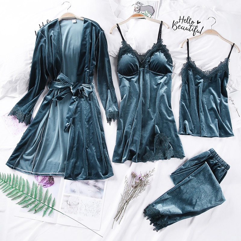 Women's Velvet Lace Long Sleeve Pajamas Suit Bowtie Lace Up Solid 4 Pieces Nightgown Pajama Sets 2020 Spring Summer Home Clothes