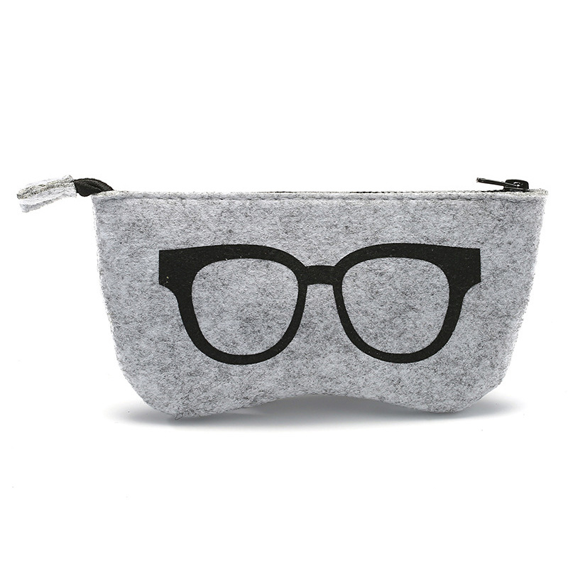 Competent Glasses Bag 5 Color Felt Sunglasses Storage Bag Multifunction Zipper Eyewear Cases Wholesale Custom Logo Latest Fashion