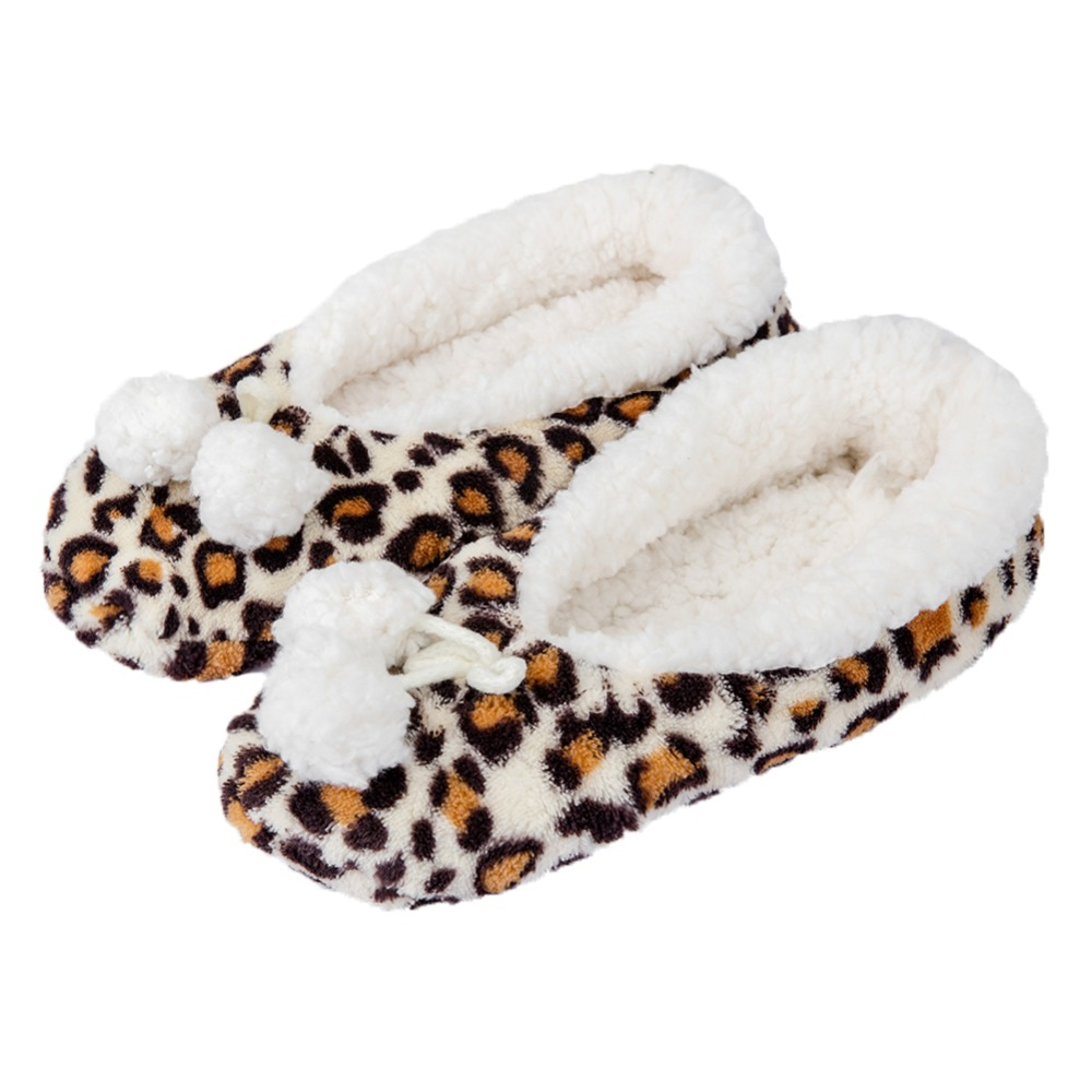 FRALOSHA leopard family female slippers cotton plush plush double ball decorative shoes floor shoes non-slip indoor slipper dynarex cotton ball large non sterile 1000 count