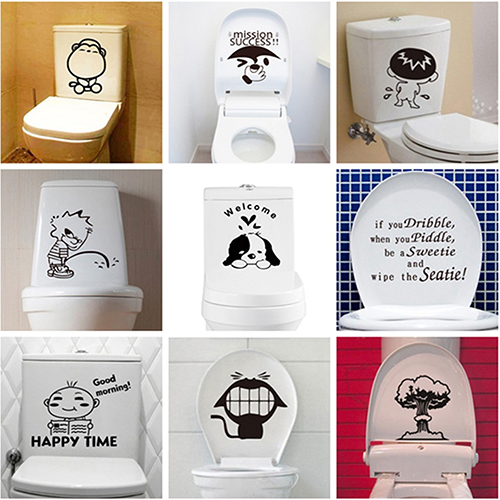 Cartoon Pattern Toilet Sticker Cute Home DIY Decoration Wall Decal Bathroom Stickers