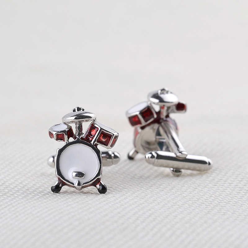 Личность мужчины ювелирные изделия меломана барабана гитары запонки для мужчин рубашка аксессуар мода металлической музыки дизайн запонки