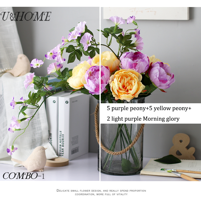 Artificial Peony Silk <font><b>Flower</b></font> Fake Morning Glory Flores With Stems High Quality For Wedding Home Party DIY Table Decoration Bulk