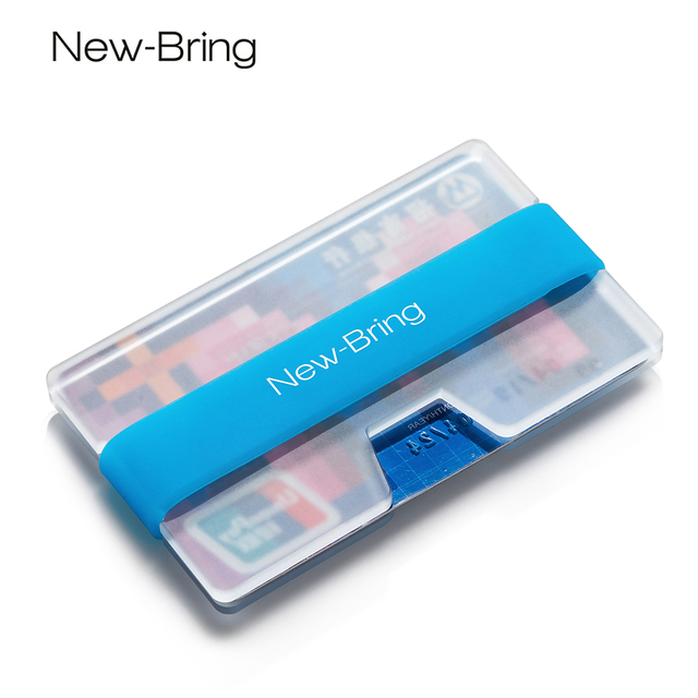 NewBring Summer Fluorescence Mini Credit Card Holder Man Business Card Money Small Wallet ID Holder Polycarbonate Clip Women