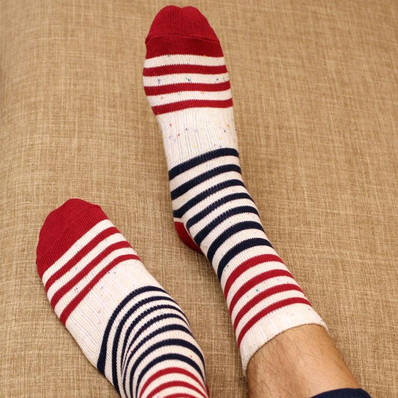 Mantieqingway Leisure Mens Dress Striped Socks Cotton Brand Winter Autumn Colorful Socks Breathable Business Long Tube Sock