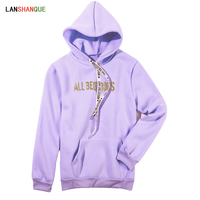 2018 M-3XL Autumn winter women sweatshirts and pullovers Harajuku purple color letter hoodies casual kpop hooded outerwear women Sweatshirts & Women Hoodies