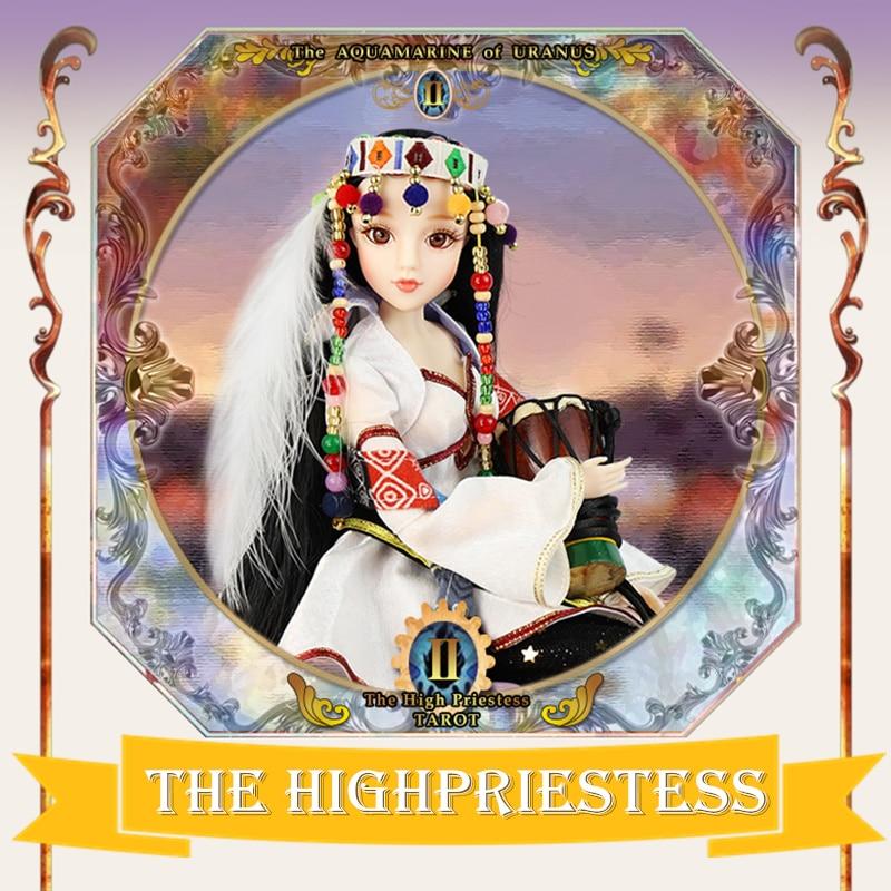 TAROT CARD Major Arcana The high-priestess joint body doll black hair 34cm east barbi the classic tarot карты