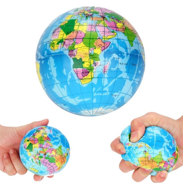 2018 Hot Sale Squash Anti-stress Toy Stress Relief World Map Foam Ball Atlas Globe Palm Ball Planet Earth Ball squishy ijsje S *