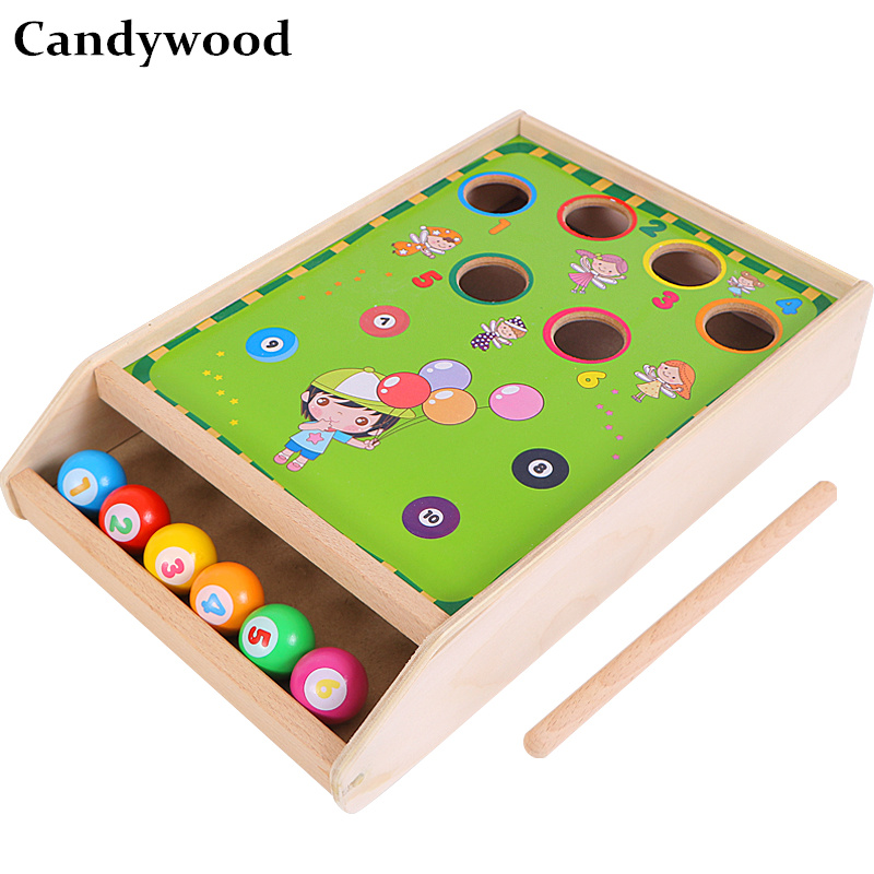 Candywood bureau en bois jeu de billard Mini Table Snooker jouets enfants enfants couleur et numérique Cognition éducation jouets garçon cadeaux