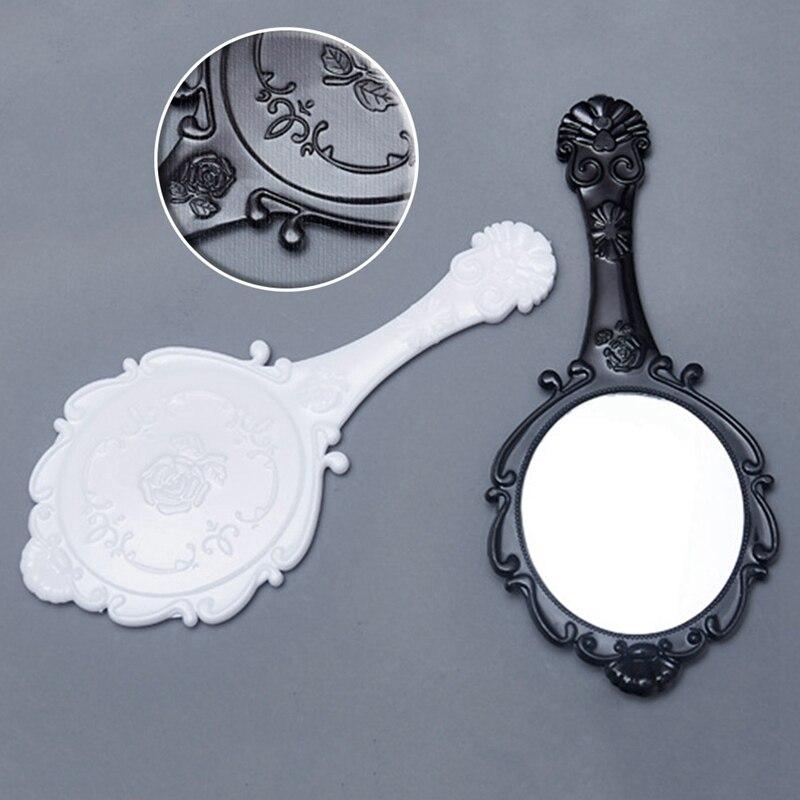 Haut Pflege Werkzeuge Retro Muster Griff Make-up Spiegel Tragbare Spitze Hand Make-up Spiegel Kosmetik Schönheit Make-up-tool