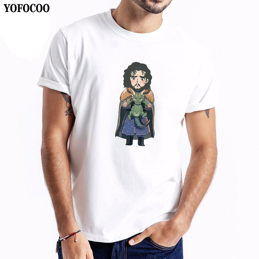 YOFOCOO Game of Thrones Creative Cartoon T-Shirt Mens T Shirt SummerMale Casual Tee Tops