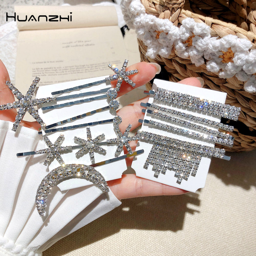 HZ 2019 New Korea Rhinestone Hair Clip Shiny Barrettes Star Tassel Fantasy Hair Grip Hairpin Hair Accessories For Women Party
