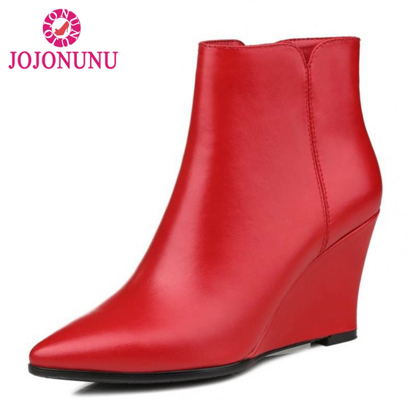 JOJONUNU Size 34-40 Female Real Leather Wedges Ankle Boots Women Pointed Toe Zip Shoes Women Thick Fur Winter Warm FootwearJOJONUNU Size 34-40 Female Real Leather Wedges Ankle Boots Women Pointed Toe Zip Shoes Women Thick Fur Winter Warm Footwear