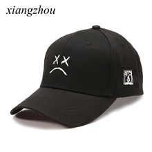 f2b9a7ecdfe23 Lil Peep Dad Hat Embroidery 100% Cotton Baseball Cap Sad face Hat  xxxtentacion Hip Hop Cap Golf Love lil.peep Snapback Women Men