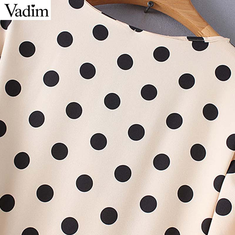 Vadim women V neck dots print wrap dress bow tie sashes lantern sleeve female casual mid calf dresses chic A line vestido QB335
