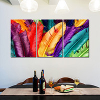 3PCS No Frame Modern Colorful Feather Wall Painting Landscape Canvas Painting Cuadros Home Decor Wall Pictures