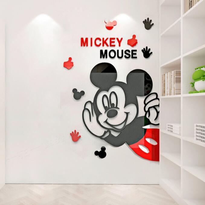 Novo acrílico adesivos de parede crianças quarto bonito mickey mouse cristal estéreo espelho adesivos acrílico 3d adesivos decorativos