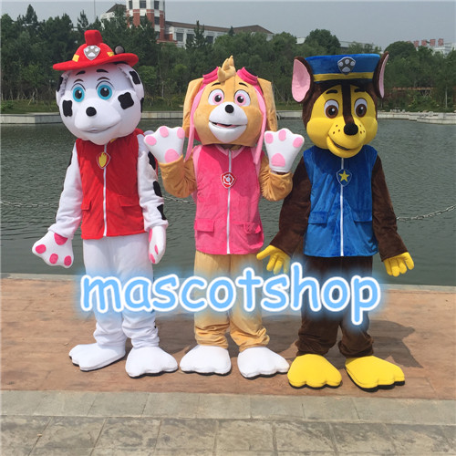Carton Chase Skye Patrouille Chien Rose Blanc Jaune Chien Mascotte Caractère Costume Chien Cosplay Tenues Adulte Taille