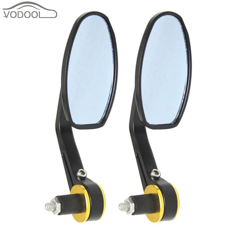 VODOOL Universal 1 Pair Aluminum Motorcycle Mirror 7/8 Handlebar Bar End Rearview Side Mirrors Cafe Racer Moto Accessories