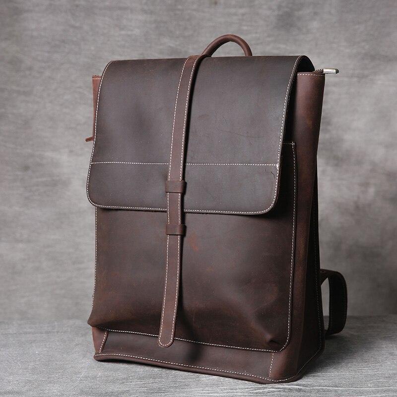 Men s crazy horse Leather backpacks vintage genuine leather laptop rucksack Durable shoulder bag Cow leather