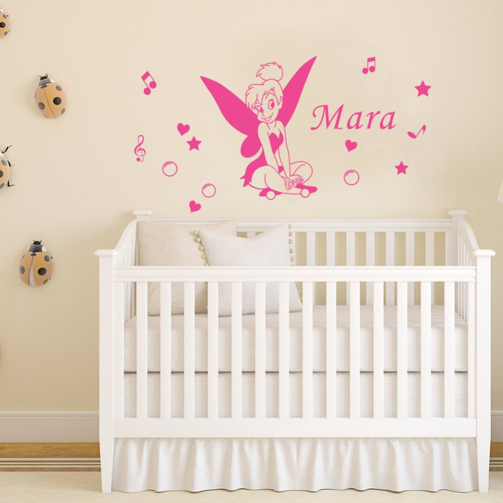 Personalized Girls Name Wall Decals for Kids Room Fairy Vinyl Wall Stickers Home Decoration Decor Mural
