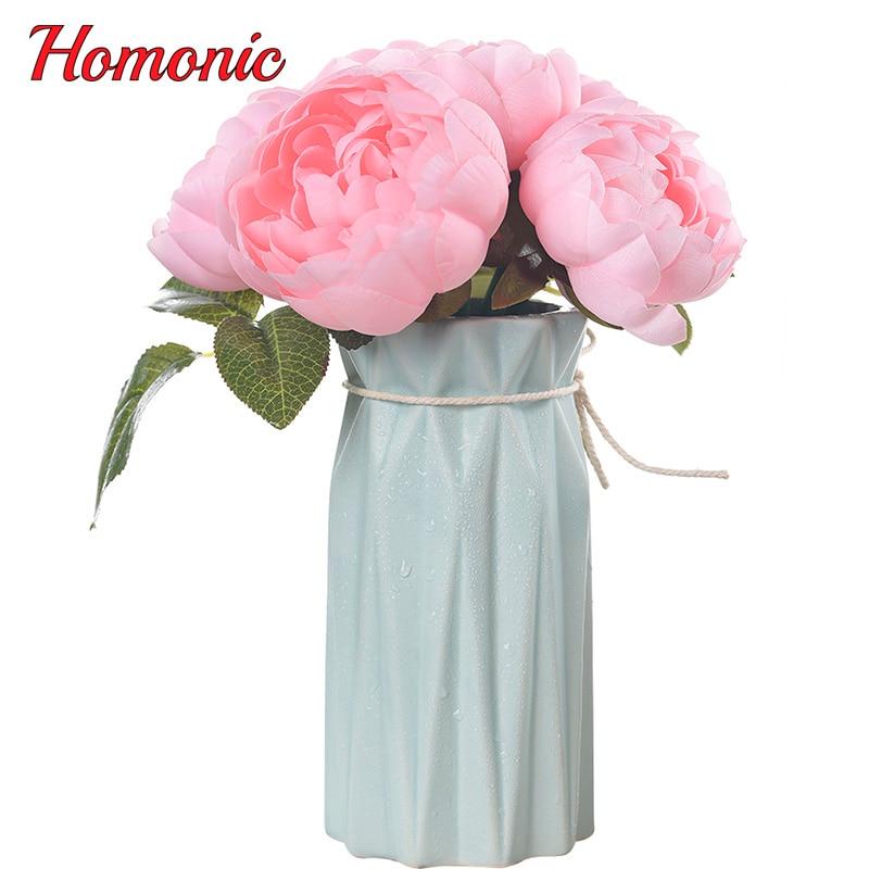 6 huvuden europeisk pion rosbukett konstgjorda blommor silke falska - Semester och fester