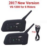 2016 2pcs V6 Multi BT Interphone 1200M Motorcycle Bluetooth Helmet Intercom Intercomunicador Moto Interfones Headset For