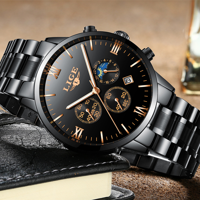 2018 LIGE Watches Top Brand Luxury Waterproof 24 hour Date Quartz Watch Man Leather Sports Wrist Watch Men Waterproof Clock Mens