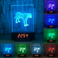 Animal Graphics Leopard Calendar Night Light Touch And Remote Charging 3D Visual Effects Table Lamp IY803991