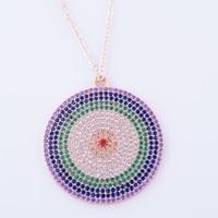 Unique Design Micro Mosaic Fashion Ladies Round Mosaic Color Zircon Party Dancing Pendant Necklace Jewelry Schmuck