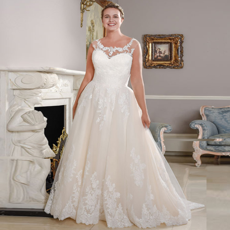 ADLN New Arrival Scoop Neck Plus Size Wedding Dresses Sleeveless Lace Applique A line Bridal Wedding