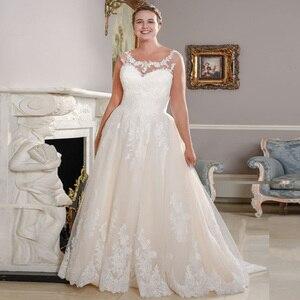 Image 1 - Neue Ankunft Scoop Neck Plus Größe Hochzeit Kleider Ärmellose Spitze Applique A line Brautkleid Brautkleider Vestido De Novia