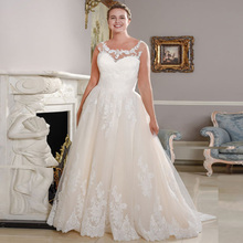 New Arrival Scoop Neck Plus Size Wedding Dresses Sleeveless Lace Applique A line Bridal Wedding Gowns Vestido De Novia