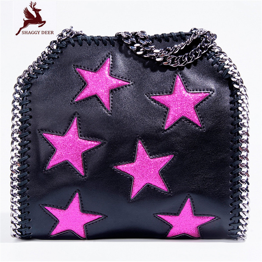 High End Quality Patchwork Shinny Star PVC Shaggy Deer Brand Crossbody Shoulder Chain Bag 25cm stella Lady Small Flap Bag mini gray shaggy deer pvc quilted chain bag with cover real picture