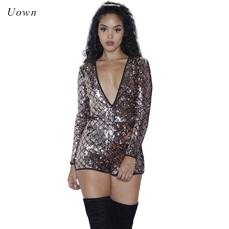 Long Sleeve Backless Sequin Playsuits Women Sexy Plunge Deep V Neck Back Cut out Bodyocn Glitter Jumpsuit Short Rompers Overalls