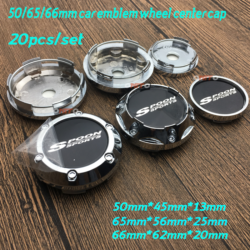 NEW 20PCSSET SPOON Sports logo 45mm sticker covers 50mm 65mm 66mm Wheel Rim Wheel Center Caps Covers For Universal Car Styling
