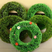 6 Styles Small Size Wedding Artificial Grass Ring Rosette Plastic Lawn Grass Home Interior Hotel Project