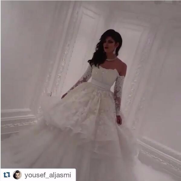 Модные свадебные платья 2016 Свадебные Платья с длинным рукавом свадебные платья Бальное платье Паффи свадебное платье плюс размер юсеф aljasmi