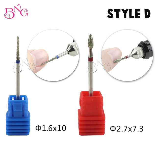 BNG 5ps set Carbide Nail Drill Bit Rotate Burr Cuticle Clean For Electric Machine Manicure Pedicure Tip Diamond Stone Naill File 4