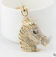 Hot Sale Korean Creative Fancy Fobs Crystal Horse Keychain Women Bag Accessories Wholesale Trinket For Key