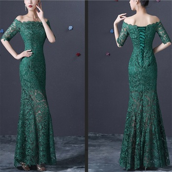 New Evening Dresses with Half Sleeves Elegant Lace Bride Gown Mermaid Ball Prom Party Homecoming/Graduation Formal Dress