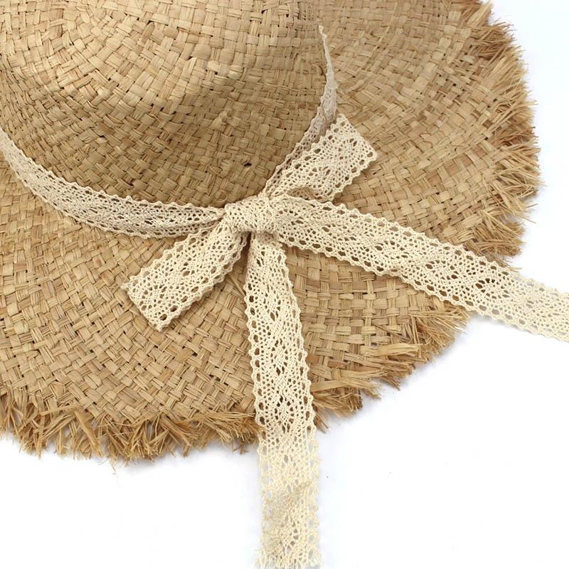 Floppy rafia sombrero de paja de ala grande cúpula Jazz gorras sombrero  moda señoras playa del verano al aire libre Sombreros para las mujeres y  chica en ... abfa8ae9aaa