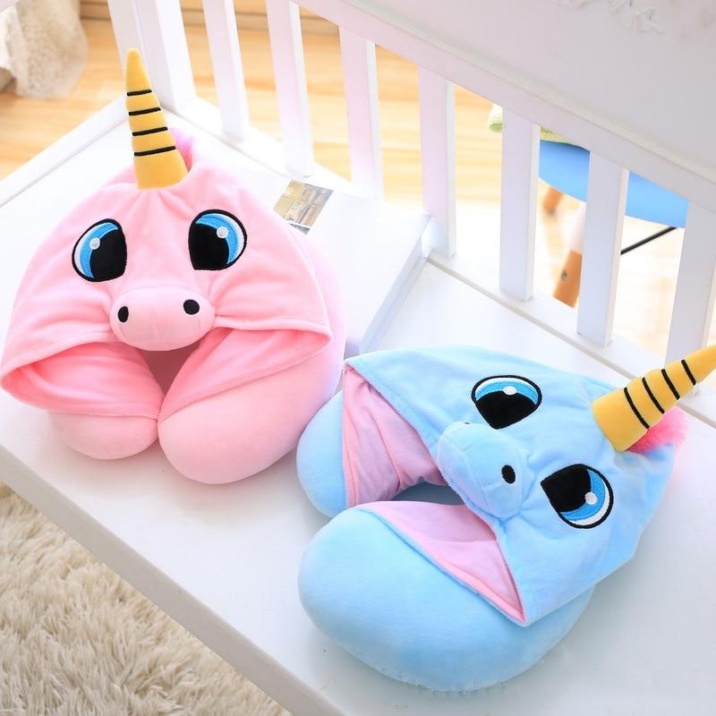 Creative Cartoon Unicorn Stuffed Plush Animal Cushion Travel Pillow Car Airplane Soft Nursing Cushion with Hat Plush Toys ZM