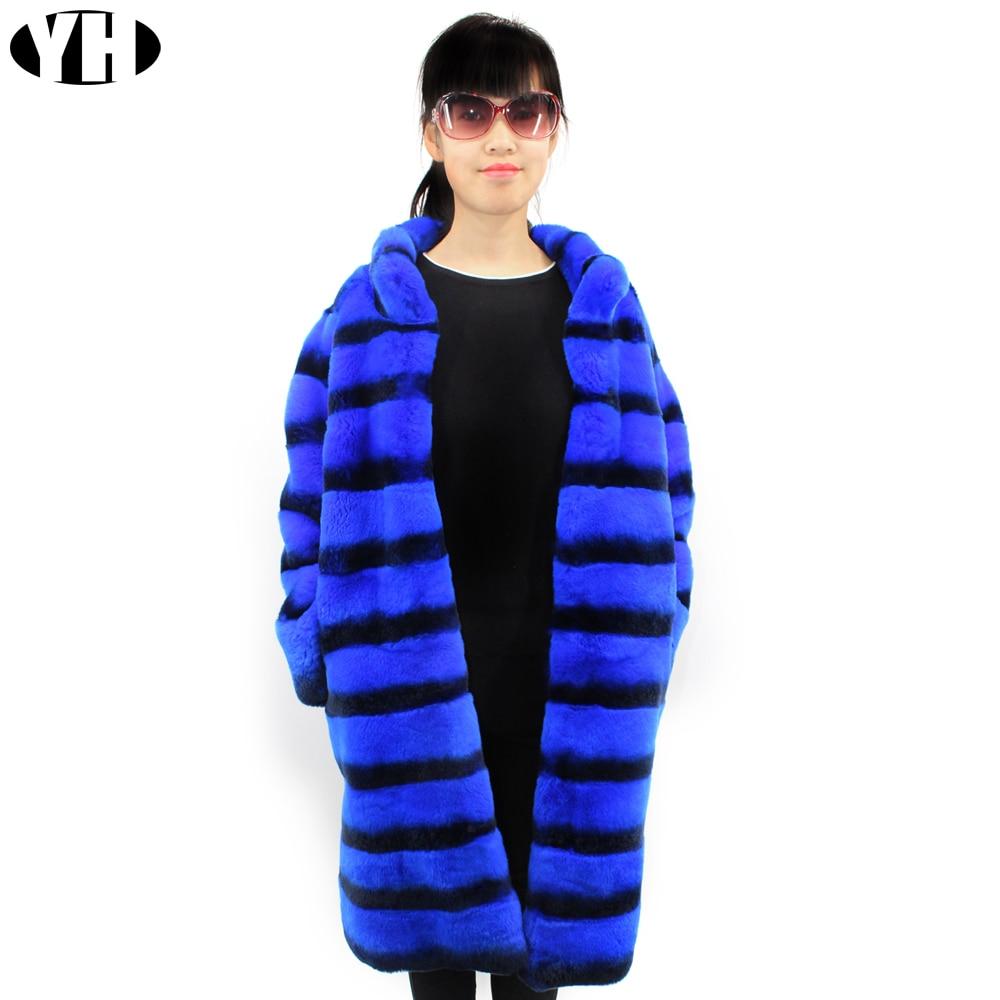 Black Plus Black 2018 Manteau La Femmes Chaud Fourrure Naturelle Personnalisée Survêtement Lapin And Doux Rex Taille Dame Hiver Blue Chinchilla white Veste De Stirped CCPr1g